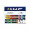 Lápices cera manley caja de 50 colores